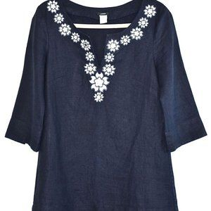 J.Crew Blouse  100% Linen Tunic Embroidered Dress